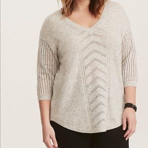 Torrid Pointelle Tunic Pullover Sweater